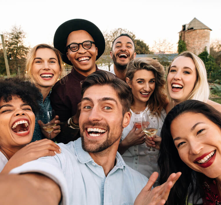 group of happy, smiling friends